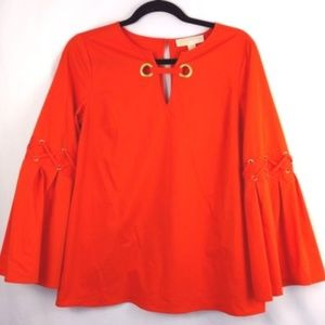 Michael Kors orange bell sleeve tunic shirt size S